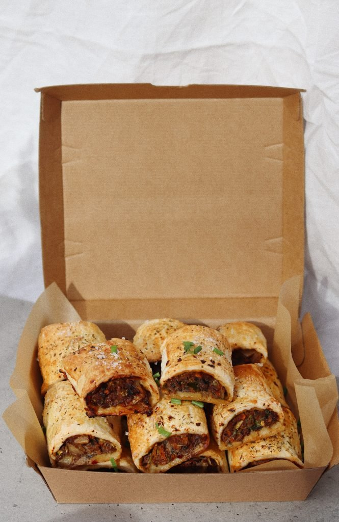 Box of hearty sausage rolls